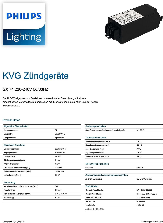 Phillips SX 74 allumage SX74 paraliel Electronic amorceur Sox Sodium Éclairage Lampe