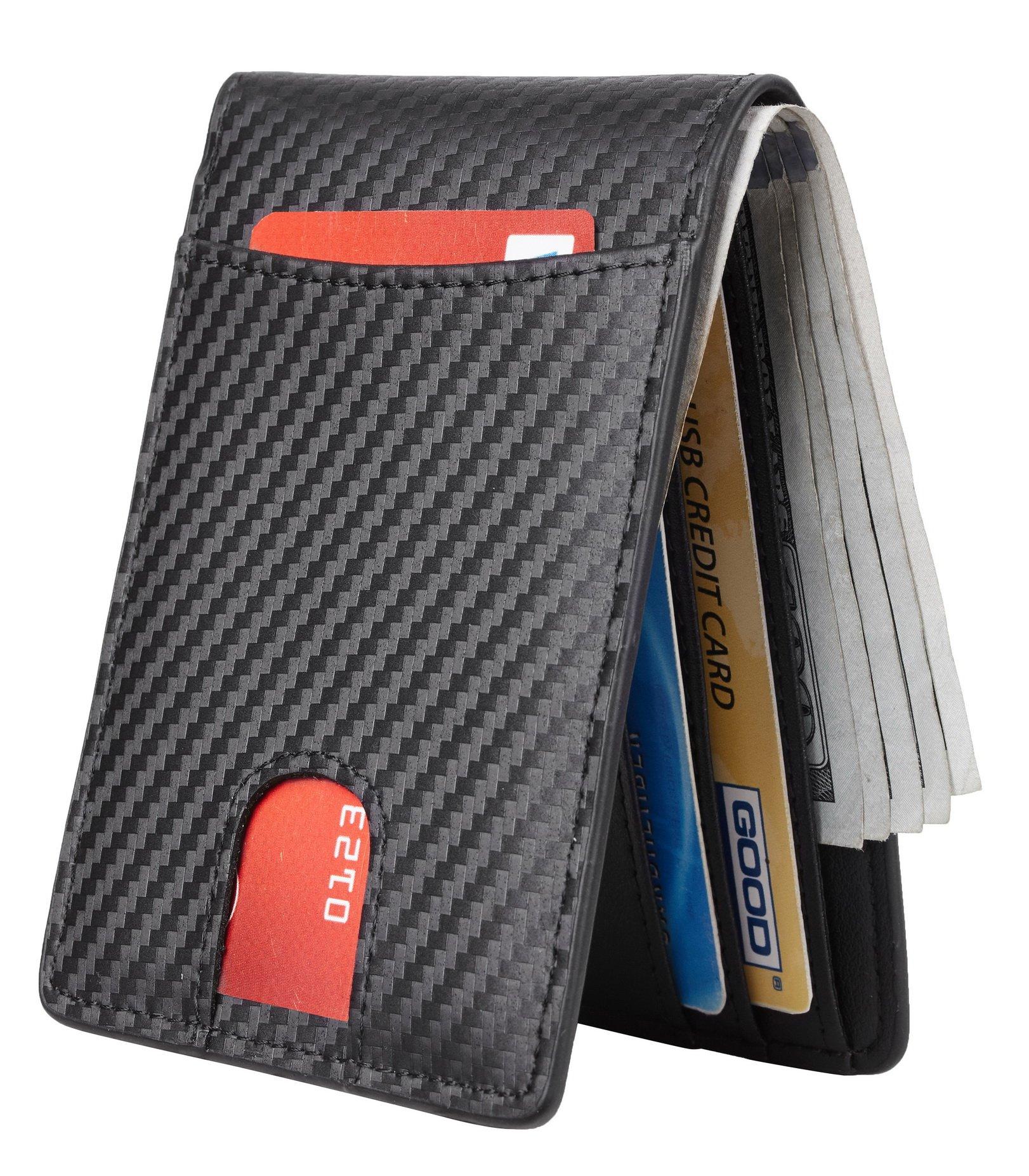 Casmonal Mens Leather Wallet Slim Front Pocket Wallet Billfold RFID Blocking (carbon fiber leather black) by Casmonal (Image #2)