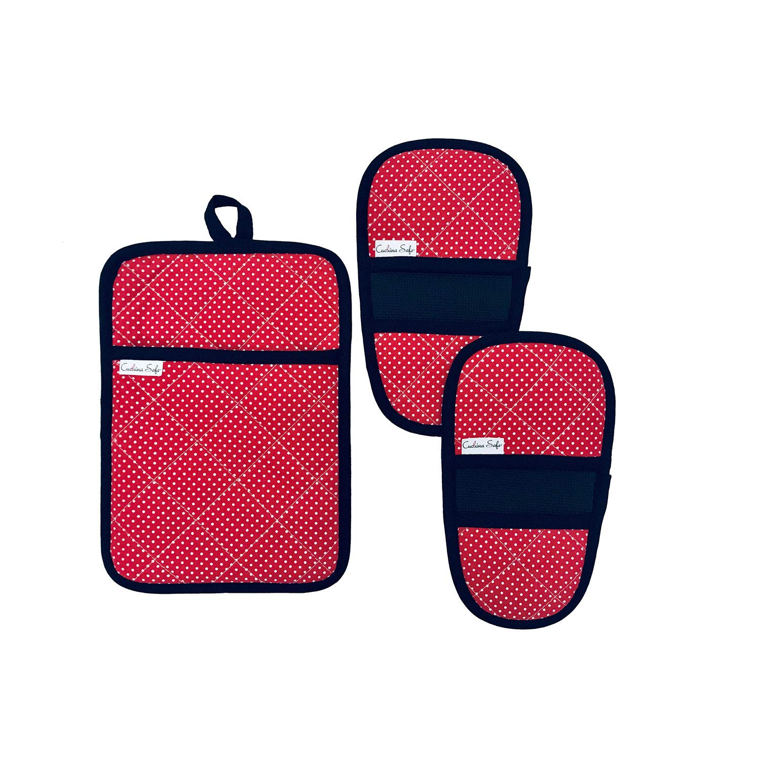 Cuchina Safe Heat Resistant Oven Mini Mitts with Pot Holder Pouch - 3 Piece Set (Red)
