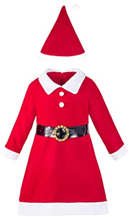 lilax girls holiday christmas santa dress with hat 2t