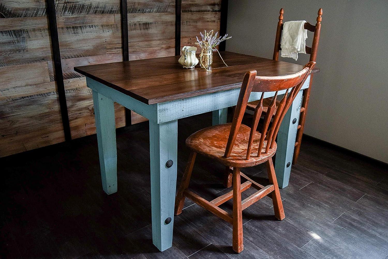 Dining Kitchen Nook Farmhouse Table – Solid Wood – Sugar Mtn Woodworks – Distressed Provence Blue, Dark Wood, Work Desk, Computer Desk