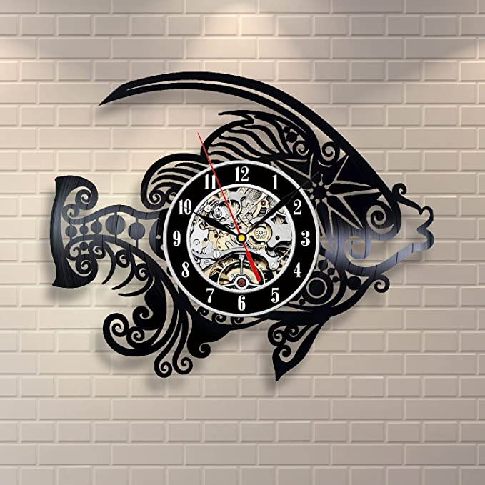 Amazon.com: Hot CD Vinyl Record Wall Clock Modern Design Animal Fish Wall Watch Classic Clock: Home Audio & Theater