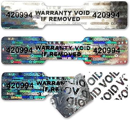 """Authentic etichette anti-manomissione di colore argento riportanti le scritte Secure Valid a forma di osso di cane Adesivi olografici numerati 45mm x 10mm Warranty Security/"""" Argento"""