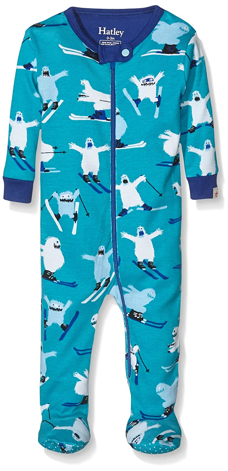 Hatley Baby-Jungen Strampler Footed Coverall-Ski Monsters