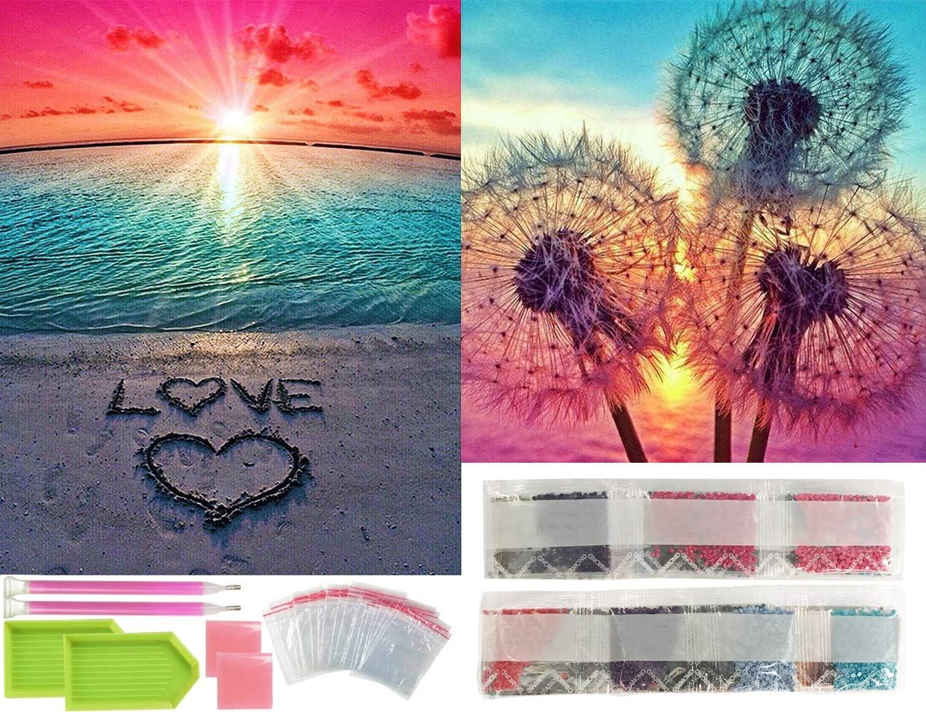 Diamond Painting Kits for Adults, TOPWOOZU 5D DIY Art Full Drill 2 Pack