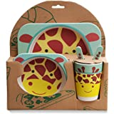Bamboo Fiber Kids Giraffe Dinnerware 5pcs Less Melamine, BPA Free Set | Plate Set | Toddler Dinner Set | Eco-Friendly Bamboo Dishes | Food-Safe Feeding Set for Toddlers and Little Kids | Boys and Girls |