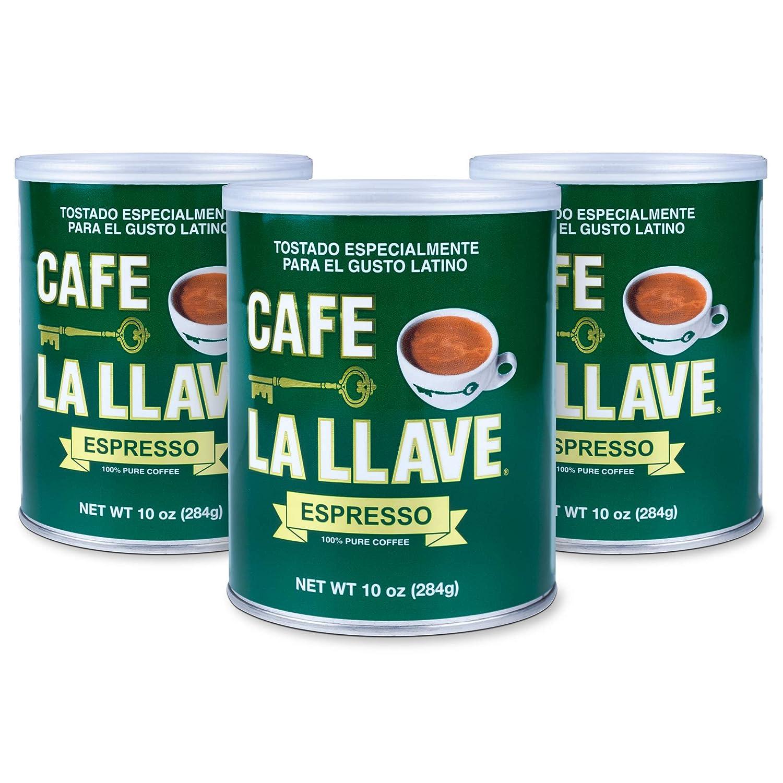 Café La Llave Espresso 100% Pure Coffee, Dark Roast Espresso (3 x 10 Ounce Cans)
