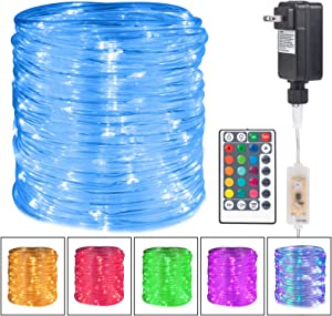 Minetom Color Changing Rope Lights: 72 Ft 220 LED Outdoor String Lights with Plug | Big Twinkle Lights for Bedroom Wedding Patio Garden Christmas Decor | 16 Colors