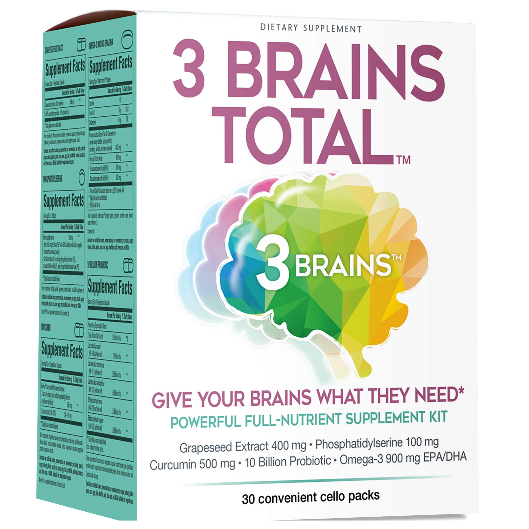 3 Brains by Natural Factors, 3 Brains Total Kit, Promotes Brain Health and Well-Being, Daily Dietary Supplement, 30 Single-Serve Packs (30 Servings) by Natural Factors