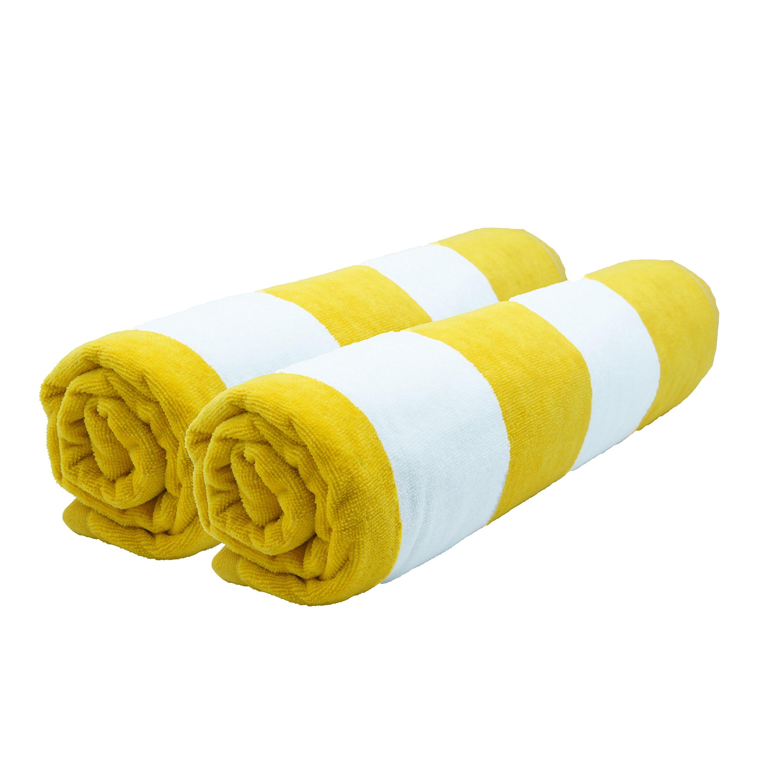 Lara Cabana 100% Turkish Cotton Beach Towel Pool Spa Bath Extra Soft & Large (35'' x60) by Corner4Shop (Yellow 2 Pack)