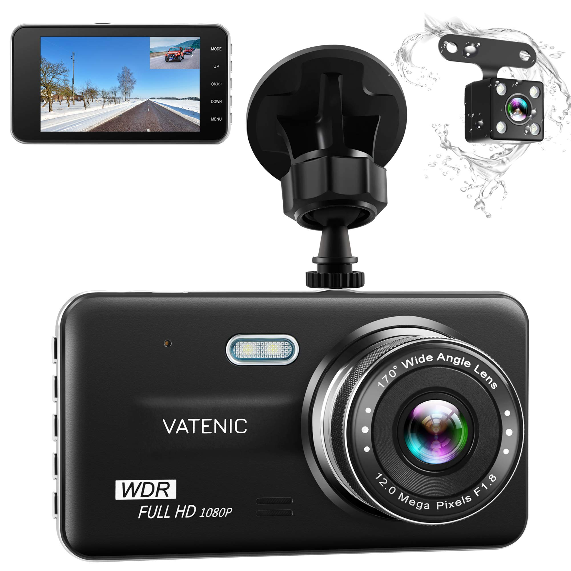 Dual Dash Cam Car Dashboard Camera Recorder FHD 1080P Front And Rear Cameras ,Driving loop Recording ,4.0 '' IPS Screen 170°Wide Angle, WDR ,Parking Monitor, G-Sensor, Night Vision, Motion Detection