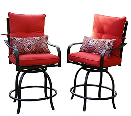 Wondrous Kozyard Corona 360 Degree Swivel Two Bar Chairs 2 Chairs W Red Seat And Back Cushions 2 Nice Patterned Pillows Included Ibusinesslaw Wood Chair Design Ideas Ibusinesslaworg