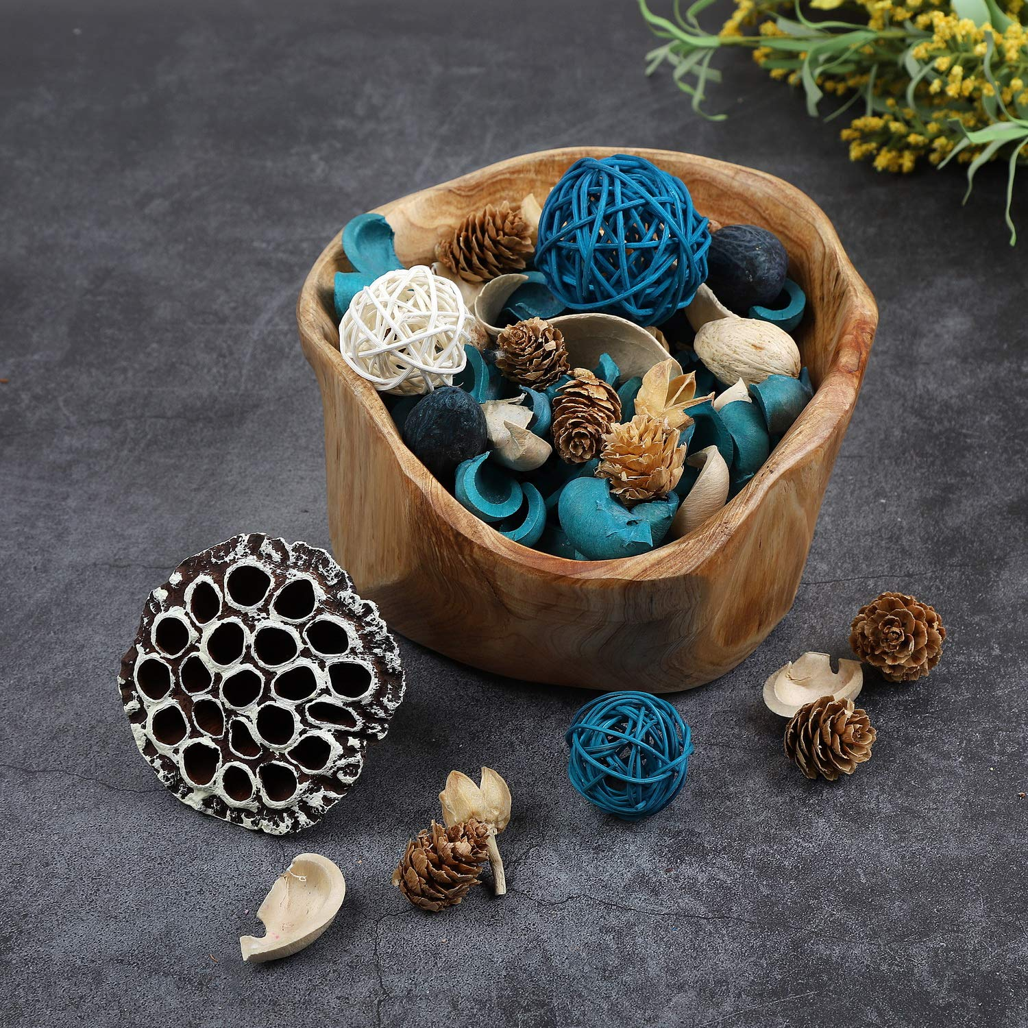 Qingbei Rina Ocean Scent Summer Potpourri Bag Decorative Perfume Sachet, Rattan Balls Lotus Pods Pine Cones Dried Flowers and Plants, 9.9 Ounce Turquoise Blue by Qingbei Rina (Image #6)