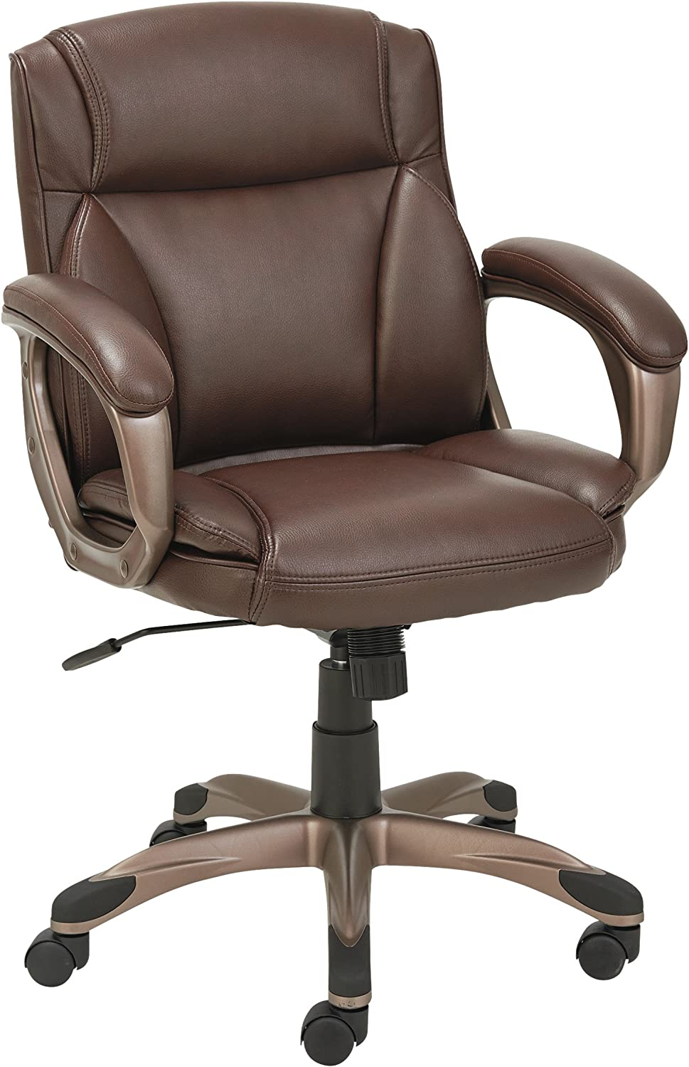 Alera ALE Veon Series Low-Back Leather Task Chair w Coil Spring Cushion, Brown