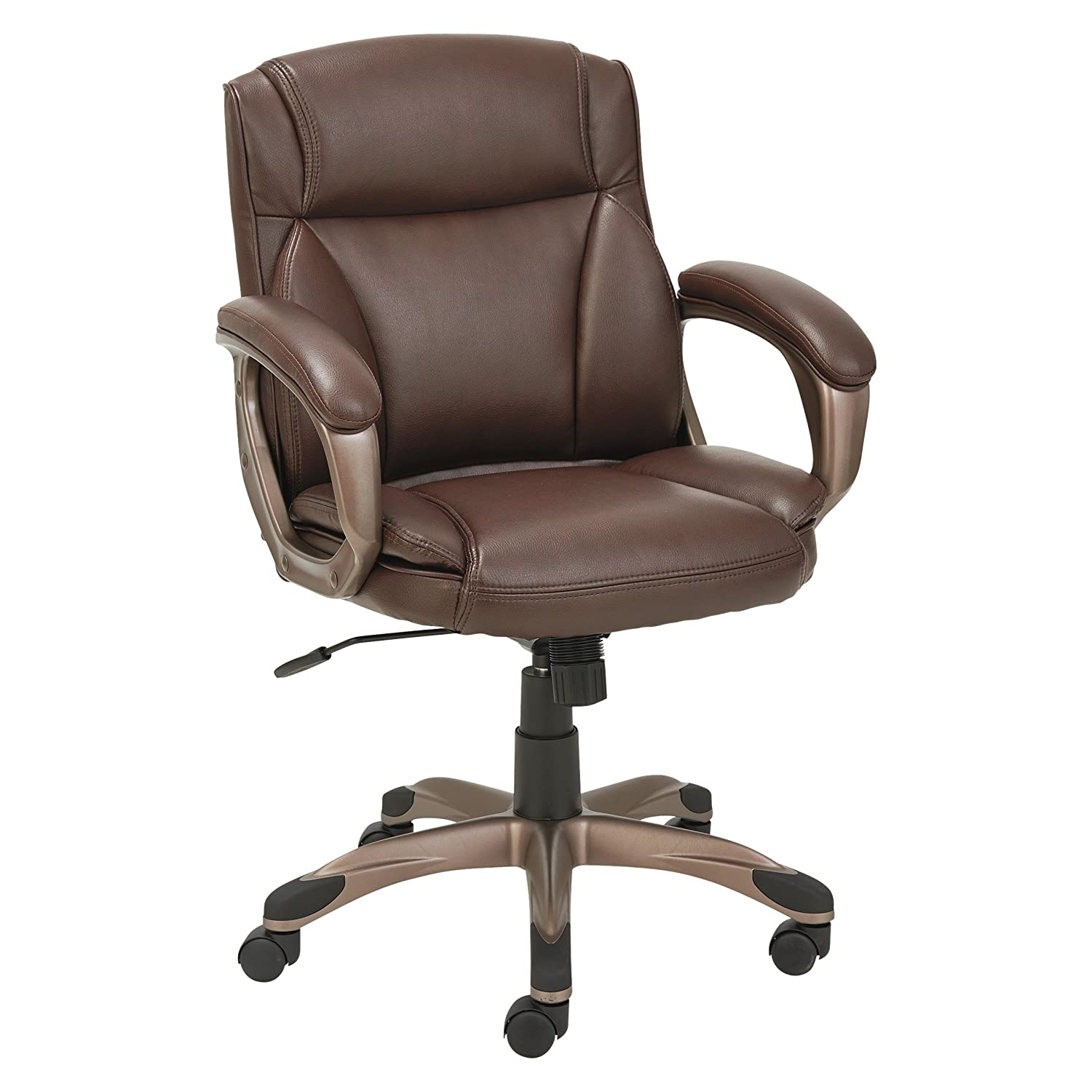 Alera ALEVN6159 Veon Series Low-Back Leather Task Chair w/Coil Spring Cushion, Brown