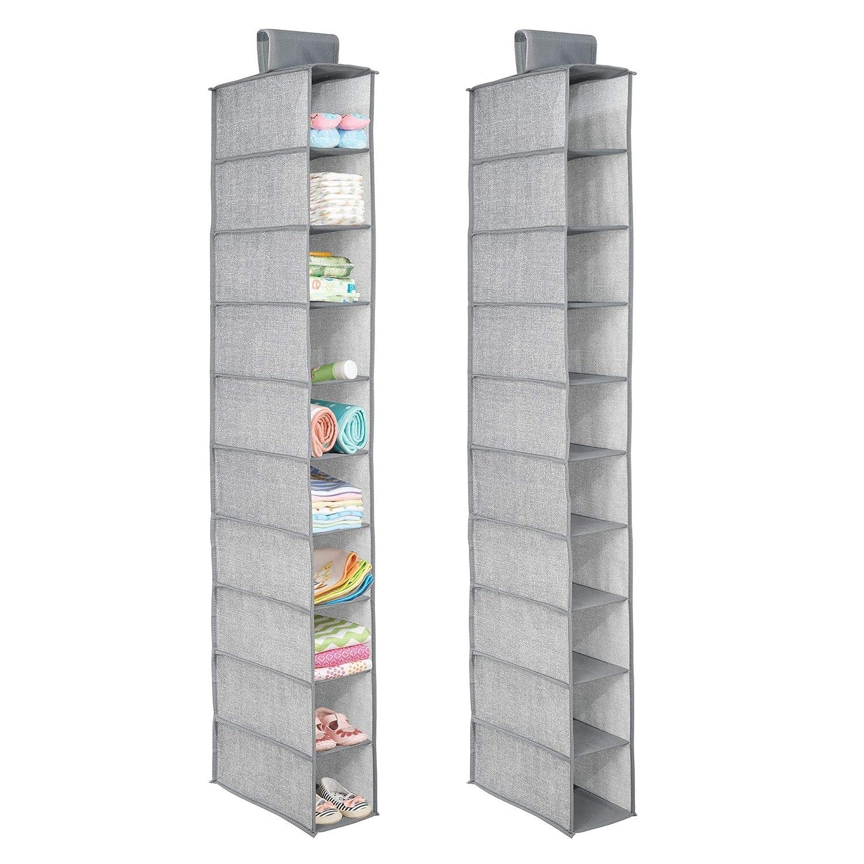 mDesign lot de 2 sac d'étagère suspendue en tissu – 10 compartiments – rangement suspendu pour la chambre des enfants – colonne de rangement idéale pour le couloir ou la chambre à coucher – gris MetroDecor 7828MDB