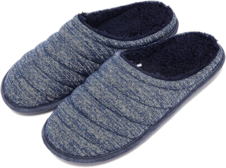 Mens Comfort Knitted Slippers Fuzzy Cotton Blend Plush Fleece Memory Foam Slip On Indoor Clog House