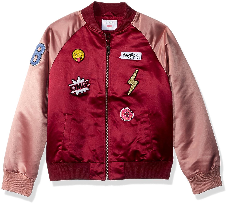 The Childrens Place Big Girls Satin Bomber Jacket