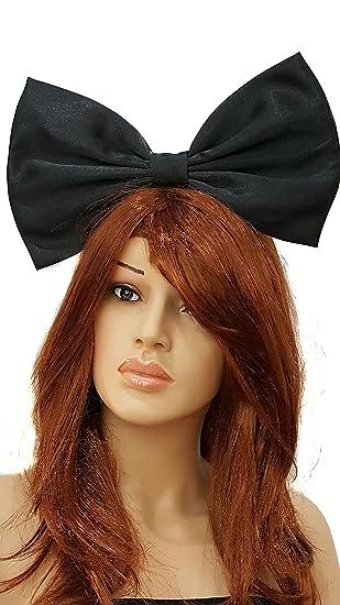 HEADBAND LARGE BLACK SATIN 7 INCH BIG HAIR BOW LADIES GIRLS NEW