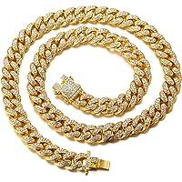 Halukakah Cadena de Oro Diamante para Hombre,14MM/20MM Chapado en Oro Real 18k/Platino con Acabado en Oro Blanco…