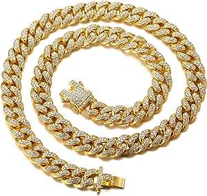 HALUKAKAH Cadena de Oro Diamante para Hombre,14MM/20MM Chapado en Oro Real 18k/Platino con Acabado en Oro Blanco Diamante Cadena de Cubano Collar Gargantilla Pulsera,con Caja de Regalo