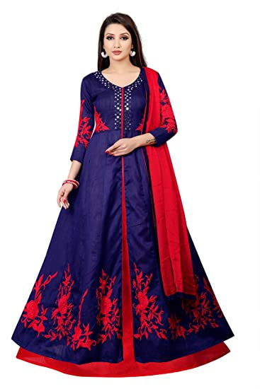 B R Fashion Women\'s Georgette Traditional Gown (Red Rozeka, Blue ...