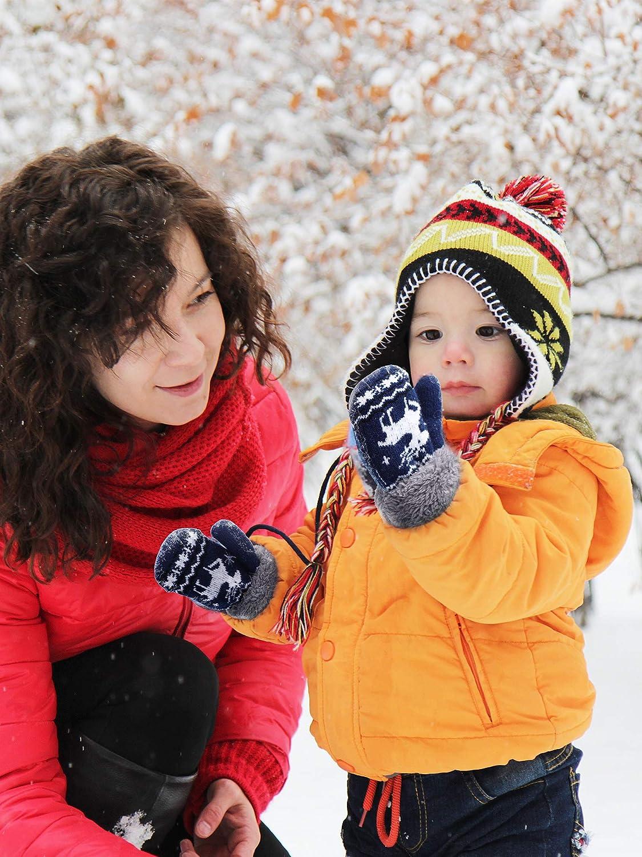 2 Paia Guanti per Bambini Inverno Caldo Guanti Dito Pieno Modello degli Alci dei Muffin del Bambino per Ragazzi e Ragazze