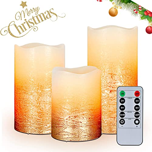 AMAGIC Gold LED Flameless Candles – H 4 5 6 x D3 – Battery Operated LED Candles with Remote and Timer, Wax, Set of 3