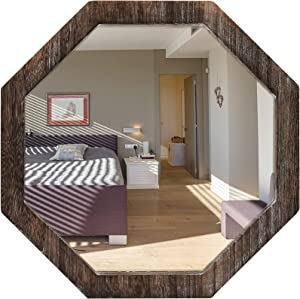 Wall Mirror for Bedroom Living Room Entryway,16 Inch Octagon Mirror Wall Mounted with Wooden Frame,Durable Bathroom Mirror Brown
