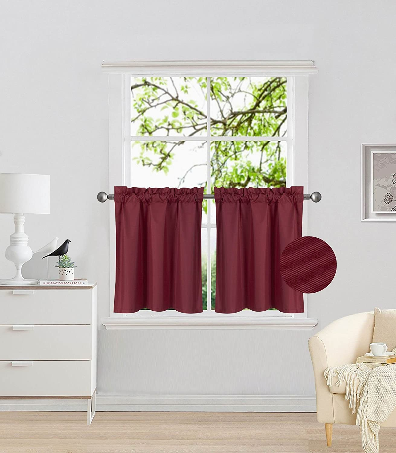 """Elegant Home 2 Panels Tiers Small Window Treatment Curtain Insulated Blackout Drape Short Panel 30"""" W X 24"""" L Each for Kitchen Bathroom or Any Small Window # R16 (Burgundy)"""