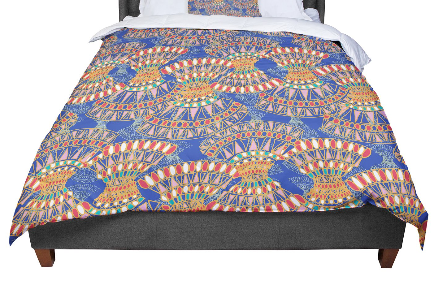 Cal King Comforter 104 X 88 KESS InHouse Miranda Mol Energy Orange Blue Abstract King