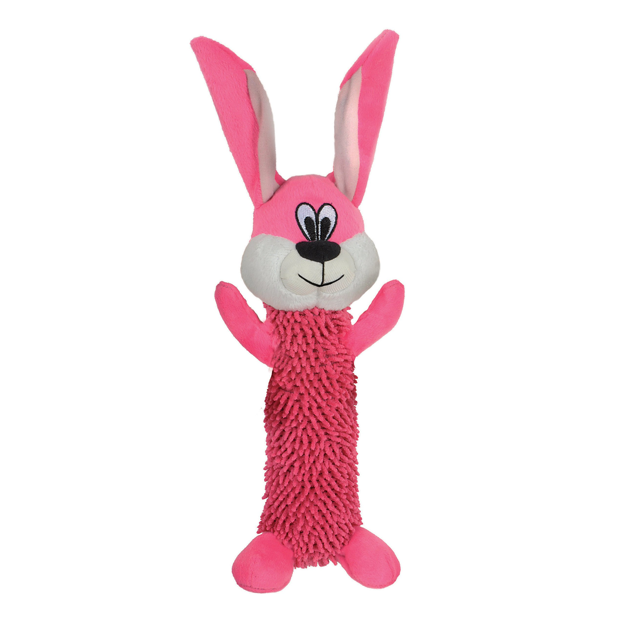 Smart Pet Love - Tender Tuffs - Shaggy Pink Rabbit - Tough Dog Toy - Play Fetch or Tug-of-war - Proprietary TearBlok Technology - Puncture Proof Squeaker