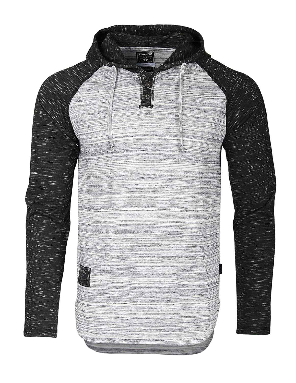 ZIMEGO Men's Contrast Long Sleeve Round Bottom Raglan Hoodie Henley T-Shirts