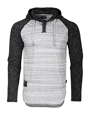 ab59a54407a1 Image Unavailable. Image not available for. Color  Zimego Long Sleeve  Raglan Henley Hoodie Round Bottom Semi Longline T-Shirt ...