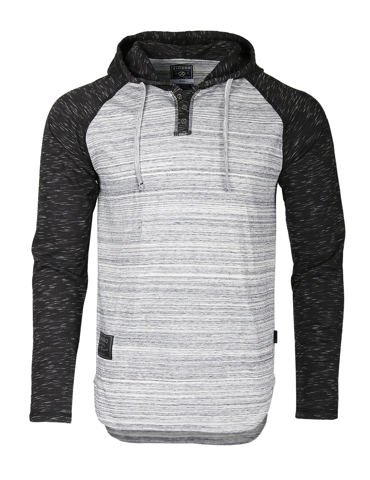 ZIMEGO Long Sleeve Raglan Henley Hoodie Round Bottom Semi Longline T-Shirt (Small, ZFLS140H Hgrey Fulfilled by Amazon)