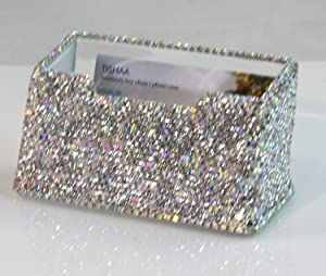 TISHAA Crystal Spark Bling Bling Decorative Business Card Holder (White Full)