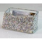 Amazon epic rhinestone studded crown design name place card tishaa crystal spark bling bling decorative business card holder white full colourmoves