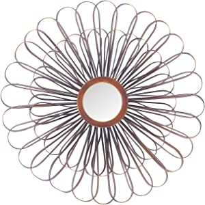 "Adeco Modern Decorative Flower Sunburst Wall Mirror Home Collection Mirror, Classic Metal Decorative Wall Mirror - 19.75"" L x 19.75"" H"