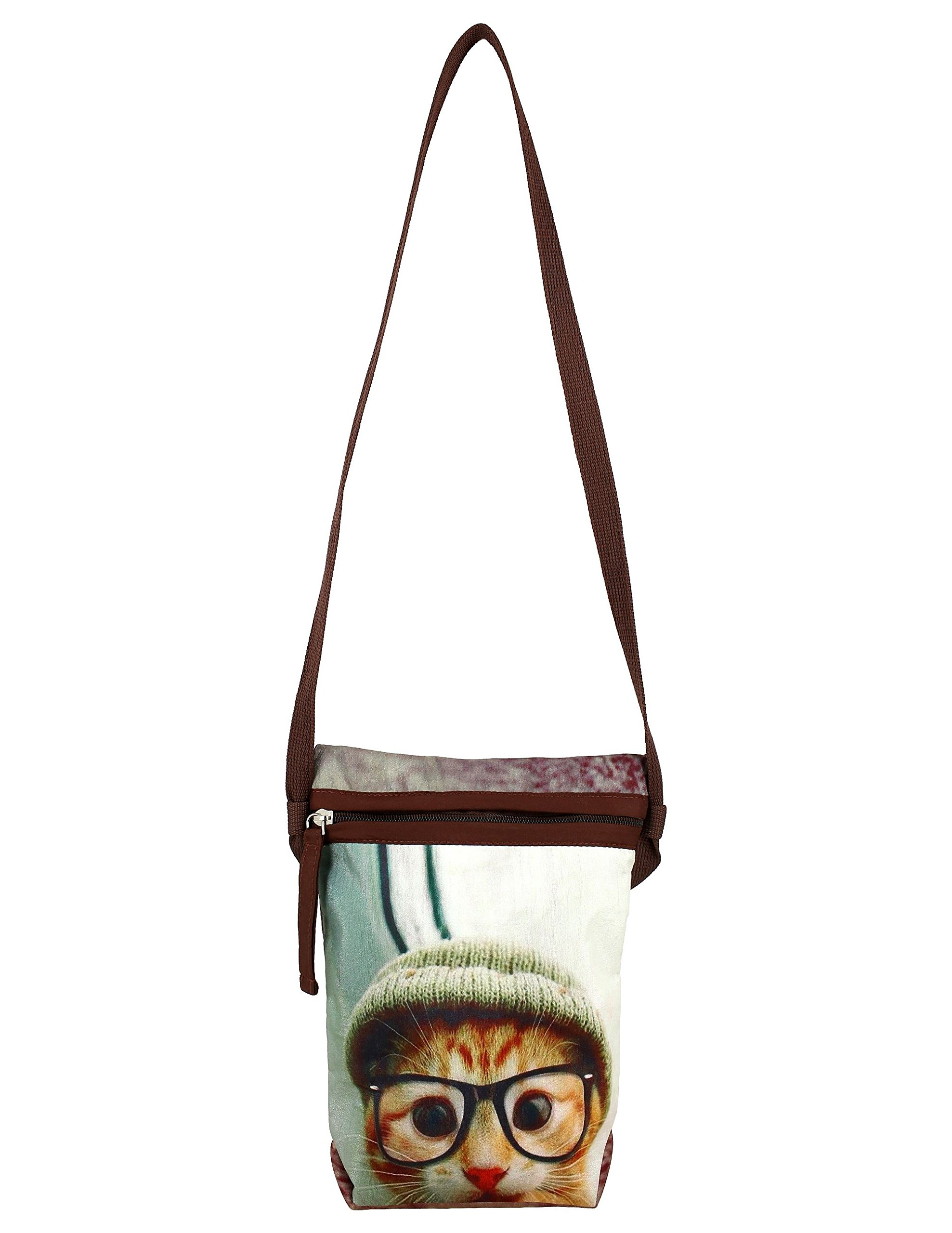 Dainty Pussy Cat With Glasses Digitally Printed Dupion Silk Cross Body Sling Bag For Girls
