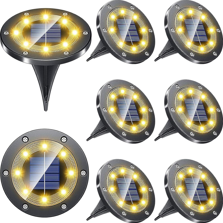 Luces Solares Led Exterior Jardin,Impermeable Luces Solares de Tierra 8 LED Luces de Disco Solar