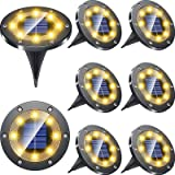 Biling Solar Lights Outdoor Grid Design Shell, Solar Powered Frosted Black Ground Lights Outdoor Waterproof, 8 LED Solar Disk