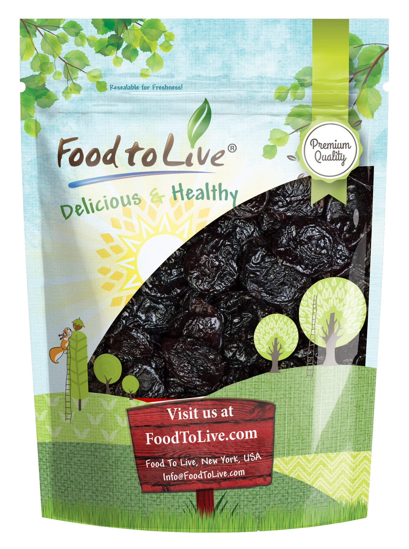 Pitted Prunes, 8 Ounces - Whole Dried Plums, Unsulfured, Unsweetened, Non-Infused, Non-Oil Added, Non-Irradiated, Vegan, Raw, Bulk by Food to Live