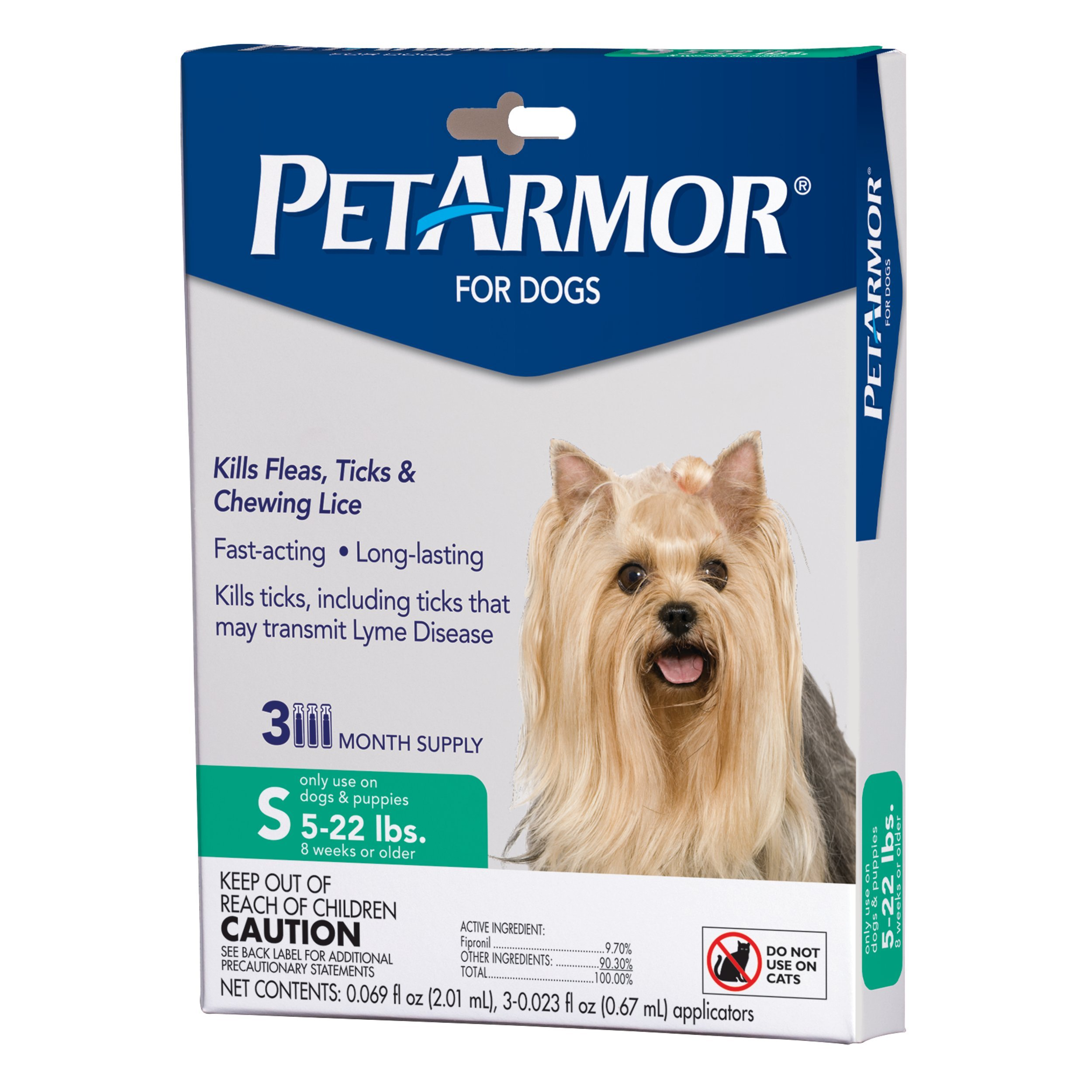 PETARMOR Squeeze on Dog Flea and Tick Repellent, 3 Month Pack for 5 to 22-Pound