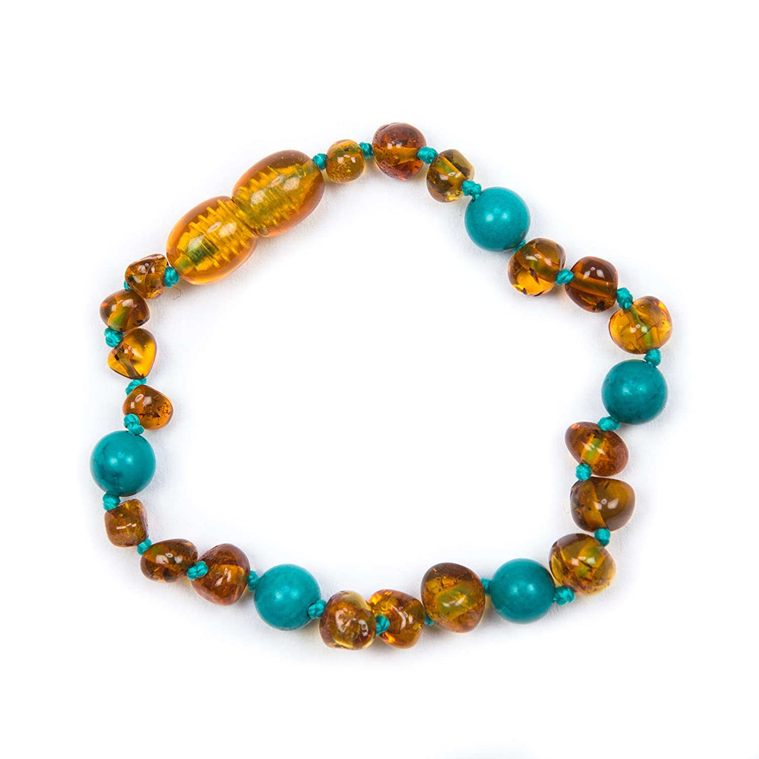 100% Genuine Baltic Amber & Semi Precious Anklet Bracelet Cognac Turquoise sizes 12cm to 19cm. Free UK Delivery. Money Back Guarantee J's Amber
