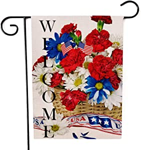 Ogiselestyle Welcome Garden Flag Patriotic Floral Basket Outdoor Flag Double Sided Burlap Yard Outdoor Decoration 12 x 18 Inch
