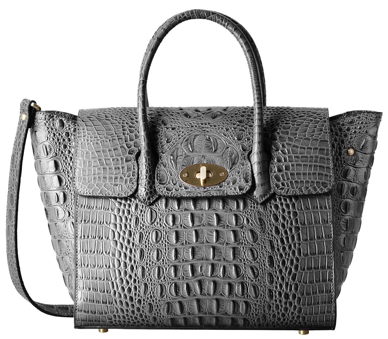 PIFUREN Fashion Women Handbags Leather Crocodile Purse Top Handle Satchel Bags C68732L(Grey) by PIFUREN
