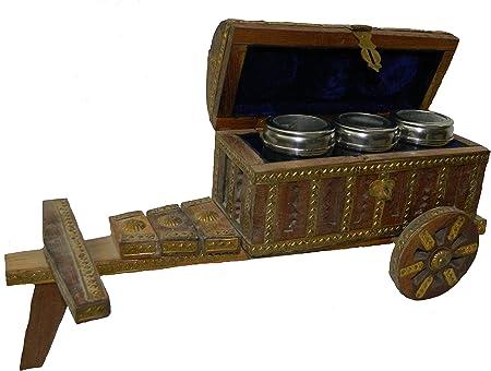 vyomshop Fabricado con latón de Madera, Caja de Acero de Material de Carrito de Magdalenas, tamaño Mediano, 3 Cajas de Acero de Madera y Mano de latón: Amazon.es: Hogar