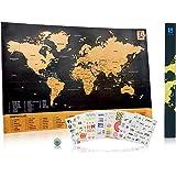 """Luxus Rubbel-Fernwehlandkarte """"Scratch Wanderlust Map"""" - Münze zum einfachen freirubbeln – Karte beinhaltet 229 süße Reisesticker – Teile deine Reiseberichte"""