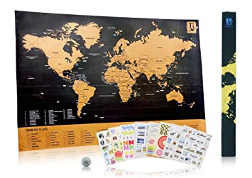 Amazon travel inspired scratch wanderlust poster map with 229 travel inspired scratch wanderlust poster map with 229 travel stickers publicscrutiny Image collections