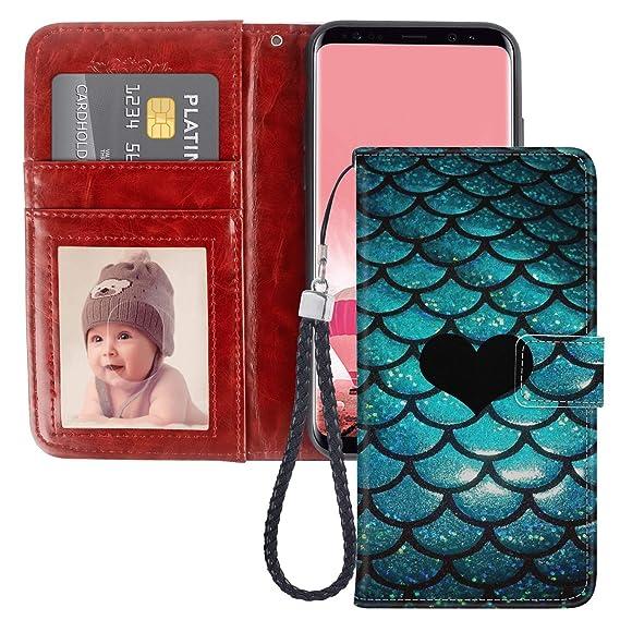 purchase cheap 08d65 39de0 Amazon.com: Blue Mermaid Samsung Galaxy S8 Plus Wallet Phone Case ...